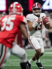 Tua Tagovailoa threw for three touchdowns in January's national championship game.