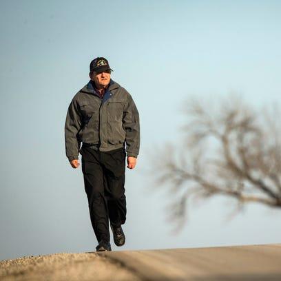 Steven Simoff heads out of Davis City on foot Feb.