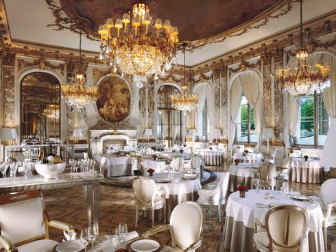 2. Restaurant Le Meurice, Paris: Famed chef Alain Ducasse makes our top 10 list twice this year. At Le Meurice in Paris, he knows how to put together a costly menu. His collection menu at Le Meurice costs a cool $509 (���380) per person for dinner, and