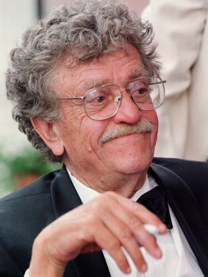 Indianapolis native and author Kurt Vonnegut sits on the patio along the canal outside the IHS