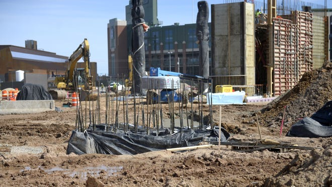Construction on the park and plaza portion of the Titletown District is progressing. April 6, 2017.