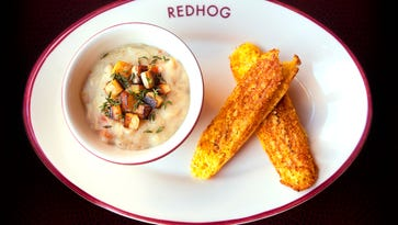 Redhog's smoked bass chowder with parsnips and corn sticks