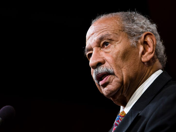 WASHINGTON, DC - JANUARY 16:  U.S. Rep. John Conyers (D-MI) speaks a news conference on Capitol Hill, January 16, 2014 in Washington, DC. A group of lawmakers announced that they are introducing legislation, the Voting Rights Amendment Act of 2014, that would restore keys parts of the 1965 Voting Rights Act. (Photo by Drew Angerer/Getty Images)