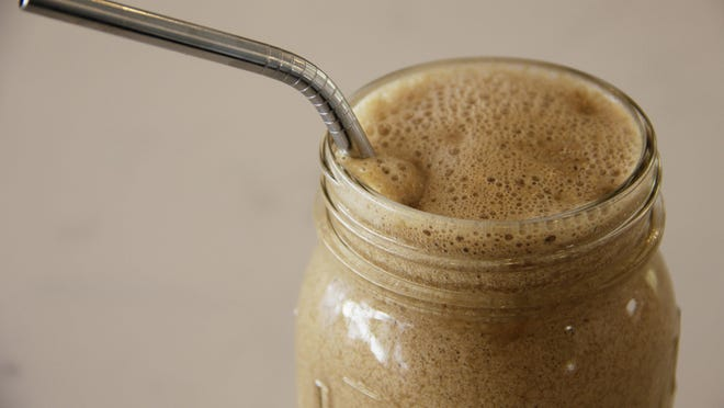 This frozen bulletproof coffee gets its creaminess from coconut oil.