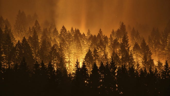 "The Eagle Creek Fire burns on the Oregon side of the Columbia River Gorge near Cascade Locks, Ore., on Sept. 5. AP FILE - In this Sept. 5, 2017, file photo, the Eagle Creek wildfire burns on the Oregon side of the Columbia River Gorge near Cascade Locks, Ore. Wildfires that have blackened more than thousands of square miles across the American West have also ignited calls, including from Interior Secretary Ryan Zinke, for thinning of forests that have become so choked with trees that they're at ""powder keg levels."" (Genna Martin /seattlepi.com via AP, File)"