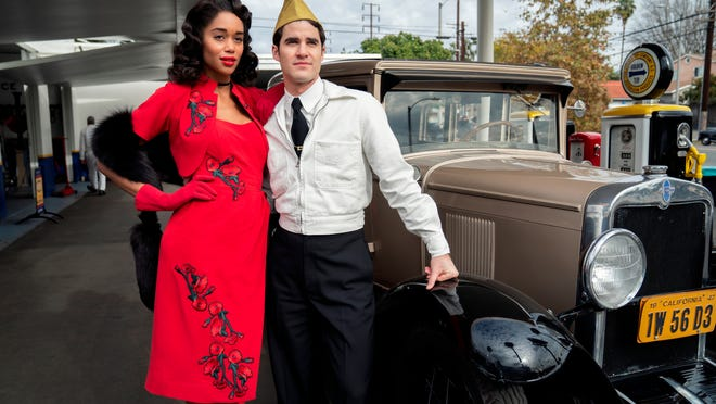 """Laura Harrier and Darren Criss in """"Hollywood."""""""