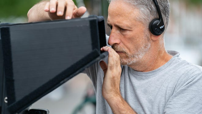 Director Jon Stewart on the set of his film IRRESISTIBLE, a Focus Features release.