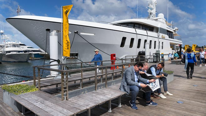 The Bella, a 147-foot luxury yacht docked at the Palm Beach International Boat Show on March 28, 2019 in West Palm Beach, Florida.