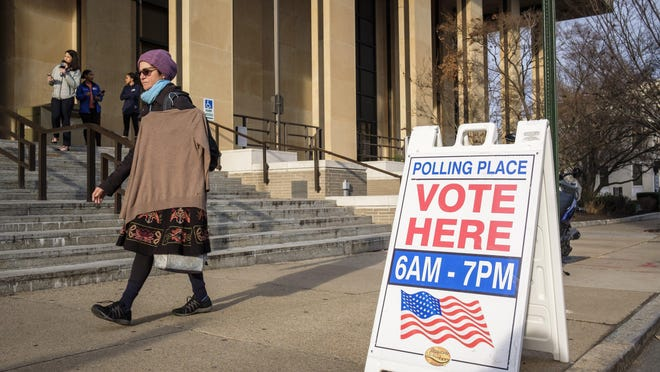 The main branch of the Richmond Public Library was drafted into service as a polling place in Richmond, Va., Tuesday, March 3, 2020. Virginia is one of 14 states voting on Super Tuesday.