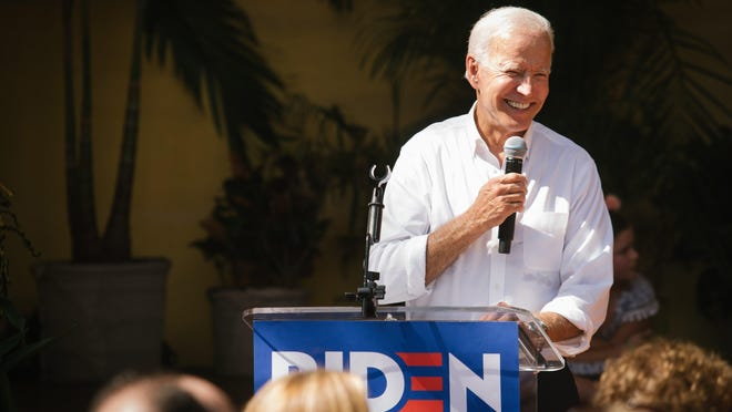 FILE -- Former Vice President Joe Biden, a Democratic presidential candidate, speaks at a campaign event in Miami, Sept. 15, 2019. Biden easily defeated Sen. Bernie Sanders (I-Vt.) in the Florida and Illinois primaries, all but extinguishing Sanders's chances for a comeback on an Election Day conducted amid a series of cascading disruptions from the coronavirus pandemic.