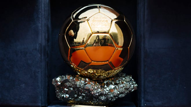 "The Ballon d'Or award in Boulogne-Billancourt, outside Paris, Friday, July 17, 2020. The prestigious Ballon d'Or will not be awarded this year because the coronavirus pandemic has disrupted the soccer season. Awarded by France Football magazine, the Ballon d'Or has been given out every year since Stanley Matthews won the first one in 1956. Lionel Messi has won it a record six times â€"" one more than longtime rival Cristiano Ronaldo."