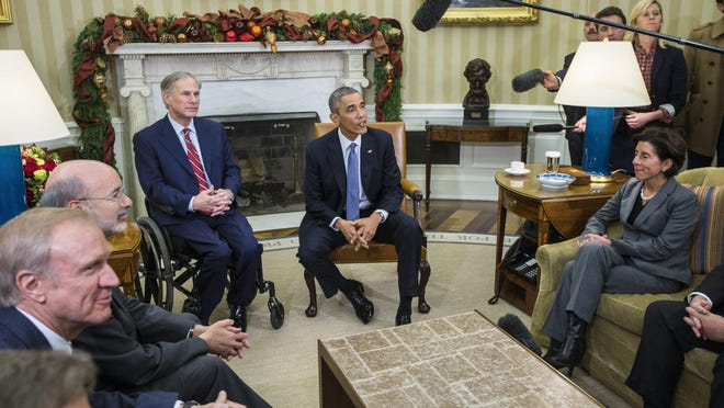 President Barack Obama meets with Texas' Greg Abbott and other newly elected governors at the White House on Dec. 5, 2014.
