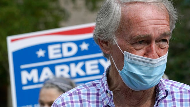 U.S. Sen. Ed Markey, D-Mass., left, addresses members of the media during a campaign stop, Tuesday, Sept. 1, 2020, in Boston. Markey, 73, is running in the primary against U.S. Rep. Joe Kennedy, D-Mass., for a second full term in the Senate.