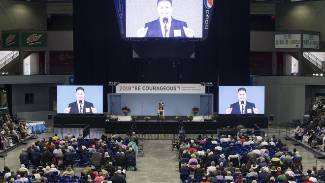 Thousands filled the BMO Harris Bank Center during a three-day convention of Jehovah's Witnesses on Saturday, July 28, 2018, in Rockford. The 2020 convention in Rockford was canceled because of the coronavirus pandemic.
