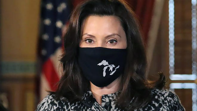 In this Dec. 18, 2020, file photo, provided by the Michigan Office of the Governor, Gov. Gretchen Whitmer addresses the state during a speech in Lansing, Mich. Gov. Whitmer on Tuesday, Jan. 19, 2021, proposed a $5.6 billion plan to combat and recover from the coronavirus pandemic, including the use of billions in federal relief and $575 million in surplus state funds. The request will go to Michigan's Republican-led Legislature on Wednesday, less than a month after Congress and President Trump enacted additional COVID-19 aid.