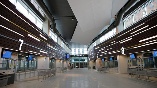 The interior of the new RTS bus terminal facing the St. Paul Street entrance.