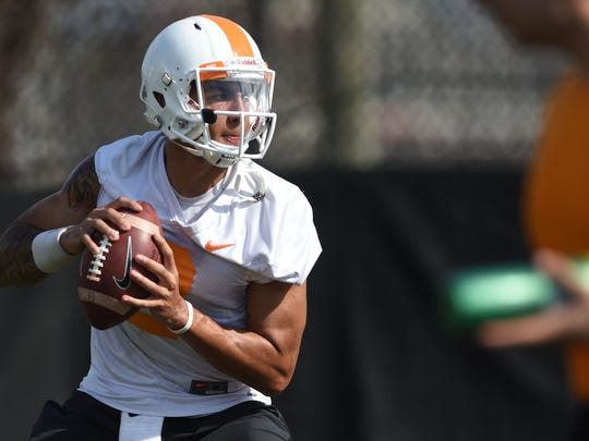 Jarrett Guarantano (2) participates in a drill during University of Tennessee's first spring practice Tuesday March 21, 2017.