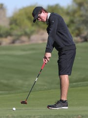 Freshman Ryln Hadley makes a birdie putt for Palm Desert High School during golf against Shadow Hills at Desert Willow Golf Resort in Palm Desert, April 17, 2018