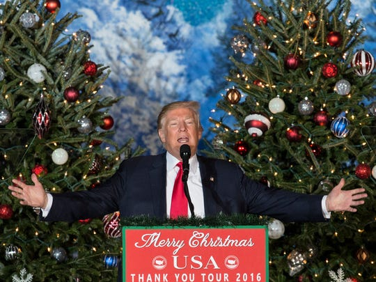 President-elect Donald Trump speaks during a rally in Orlando, Fla., Friday, Dec. 16, 2016. (AP Photo/Willie J. Allen Jr.)