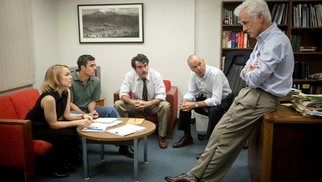 """This photo provided by Open Road Films shows, from left, Rachel McAdams as Sacha Pfeiffer, Mark Ruffalo as Michael Rezendes, Brian d'Arcy James as Matt Carroll, Michael Keaton as Walter """"Robby"""" Robinson and John Slattery as Ben Bradlee Jr. in a scene from the film, """"Spotlight."""""""
