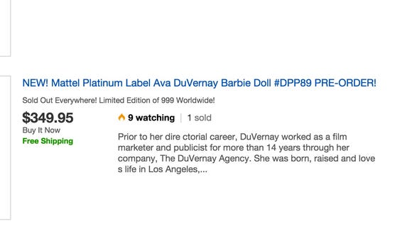 The doll is going for over 5 times its retail price