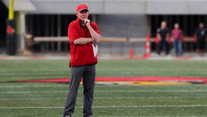 Louisville's Bobby Petrino during Spring game. April 13, 2018