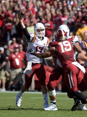 Iowa State Cyclones quarterback Kyle Kempt (17) passes the ball against the Oklahoma Sooners during the second quarter at Gaylord Family - Oklahoma Memorial Stadium.