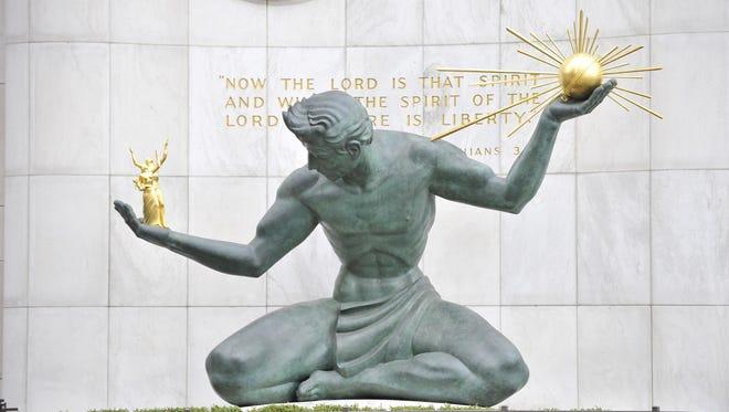 The Spirit of Detroit statue.