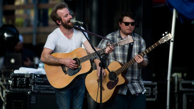 Lead vocalist Dave Simonett (left) and Tim Saxhaug rock out at McDowell Mountain Music Festival on Sunday, March 29, 2015, in Phoenix.