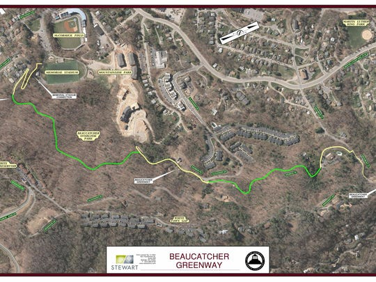 Beaucatcher Greenway will connect Memorial Field and Helen's Bridge with 1.2 miles of trail.