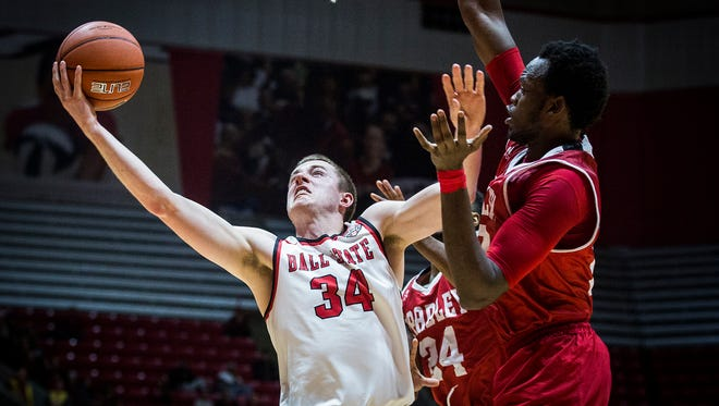 Ball State's Sean Sellers slips past Bradley's defense during their game at Worthen Arena Tuesday, Dec. 6, 2016.