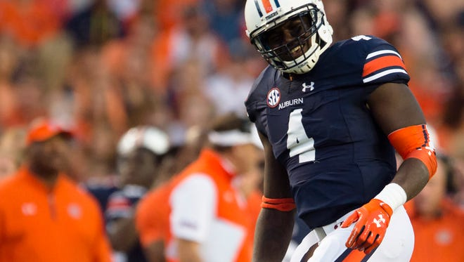 Auburn linebacker Jeff Holland (4) celebrates after a stop during the NCAA football game between Auburn vs. Georgia Southern on Saturday, Sept. 2, 2017, at Jordan Hare Stadium in Auburn, Ala.