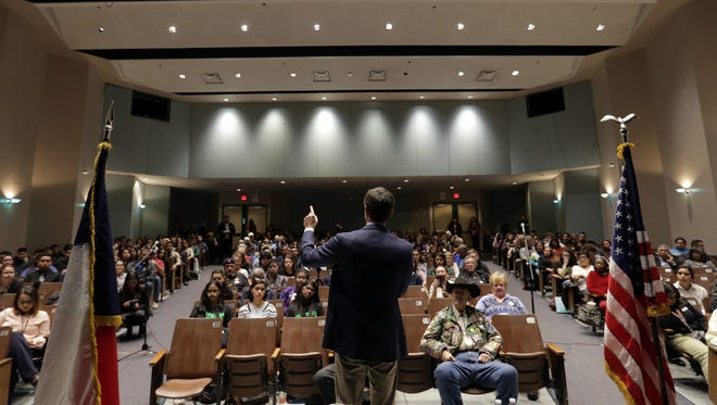 U.S. Rep. Beto O'Rourke, D-El Paso, holds a town hall meeting Tuesday at Montwood High School during which many in attendance expressed their concern over school shootings and the Deferred Action for Childhood Arrivals program.