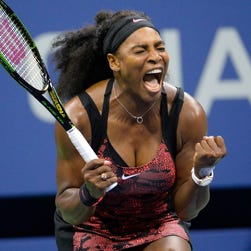 Serena Williams reacts after breaking the serve of Bethanie Mattek-Sands  in the second set on day five of the U.S. Open on Sept. 4, 2015.