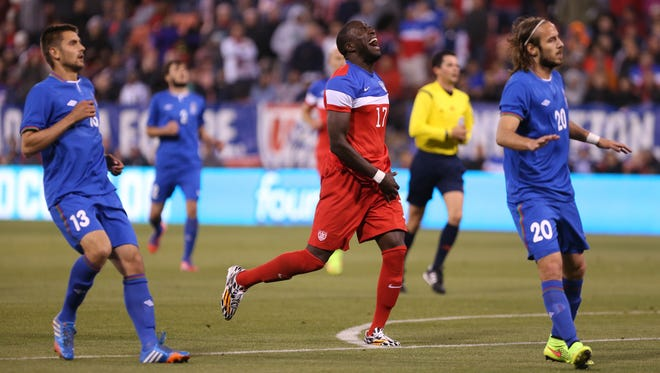 United States forward Jozy Altidore (17) reacts after missing a shot on goal against Azerbaijan during the second half at Candlestick Park. The United States defeated Azerbaijan 2-0.