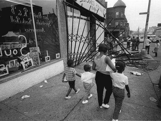 Downtown Newark on July 15, 1967.  An unfounded rumor that a man had died in police custody led to five nights of looting, arson and gunfire that left 26 dead, more than 1,400 arrested and the city's Central Ward in ruins