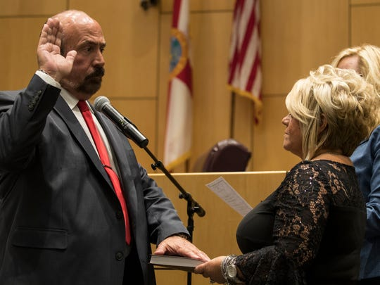 New Cape Coral Mayor Joe Coviello is sworn in Monday evening, November 20, in City Hall during a special ceremony for the mayor and incoming council members.