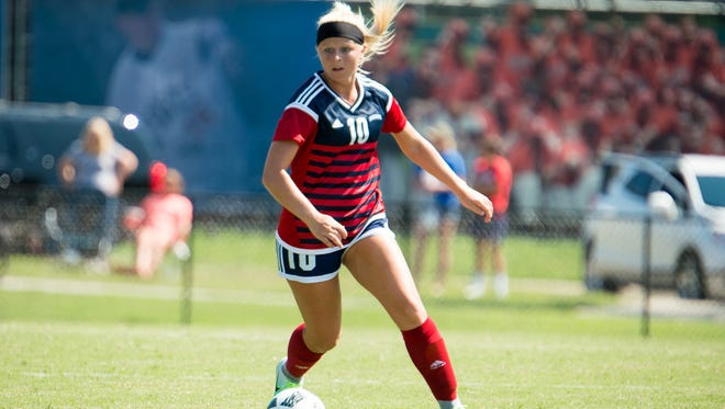 Carlie Scales, a Mater Dei grad, is a senior on the USI women's soccer team.