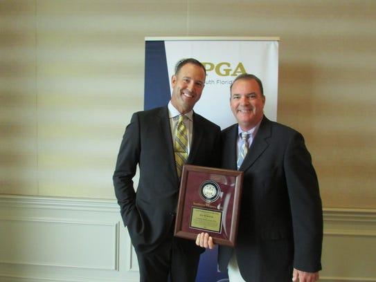 Southwest Chapter PGA President Bill Harley, right,