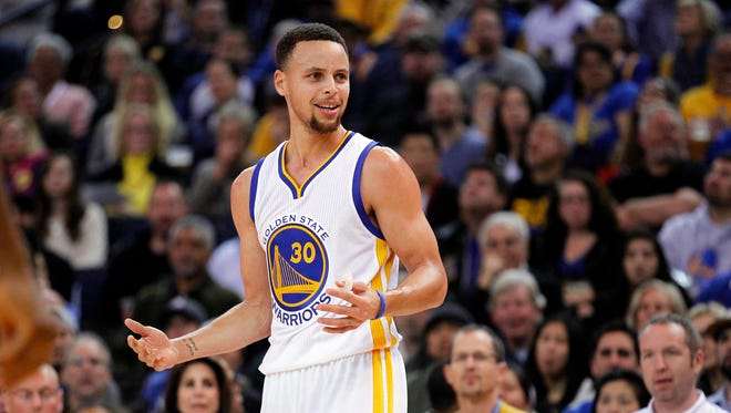 Jan 22, 2016; Oakland, CA, USA; Golden State Warriors guard Stephen Curry (30) reacts to a change of possession call during action against the Indiana Pacers in the third quarter at Oracle Arena. The Warriors defeated the Pacers 122-110. Mandatory Credit: Cary Edmondson-USA TODAY Sports