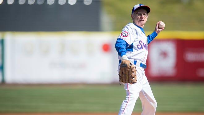 Lifelong Chicago Cubs fan Moe Resner throws out the first pitch for the game between the Tennessee Smokies and the Jackson Generals at Smokies Stadium on Wednesday, April 11, 2018.