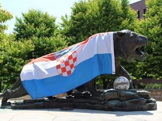 The flag of Croatia adorns the RIT tiger on the morning of the World Cup soccer final between Croatia and France.
