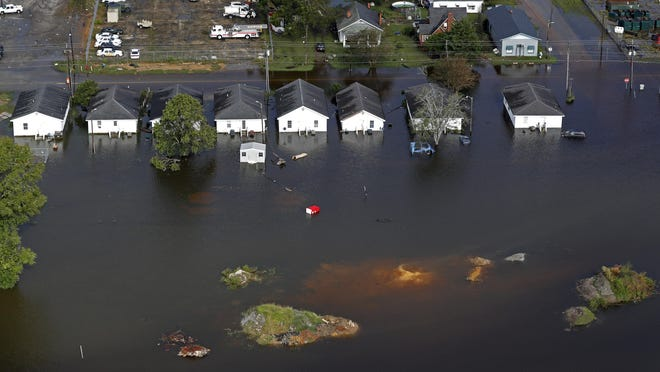 Floodwater from Hurricane Florence threatens homes in Dillon, S.C., on Sept. 17, 2018.