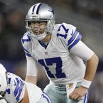 Dallas Cowboys quarterback Kellen Moore  calls signals against the New York Jets in Arlington, Texas, on Saturday, Dec. 19, 2015.