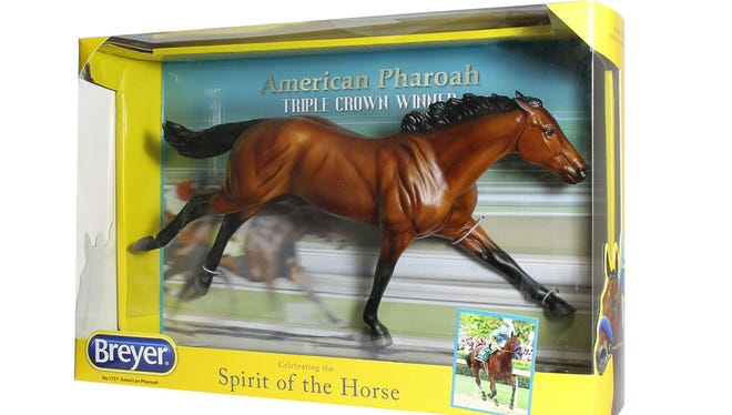 The finished product: the Triple Crown Winning American Pharaoh by Breyer.