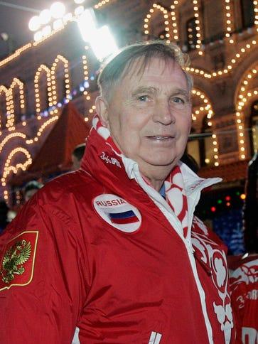 Legendary Soviet ice hockey coach Viktor Tikhonov stands