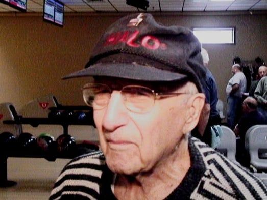 Bowler Tom Pisano of Brighton, who turns 100 Thursday.