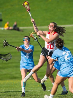 Champlain Valley Union's Katie Gingras shoots on goal against South Burlington in Hinesburg on Wednesday, May 16, 2018.