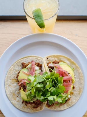 Chile Colorado tacos with smoked mole-marinated pork paired with a margarita at The Mad Taco in Montpelier on Wednesday, May 23, 2018.  The Mad Taco is opening a third location at the Essex Shoppes & Cinema.  Ther is also one in Waitsfield.