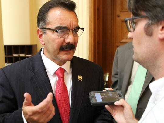 Vincent Prieto speaks to the press after the budget